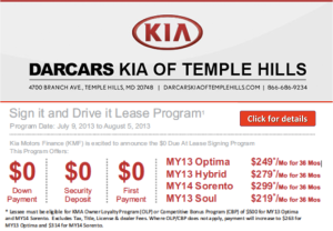 Kia Website Banner Advertisement